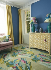 Bluebellgray Jungle - beige rug with repeat abstract floral motifs