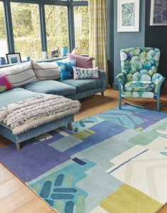 Bluebellgray Atlas - rug with abstract geometric design in blue, yellow and green