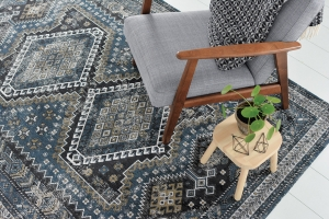 Blue rug with traditional persian inspired pattern