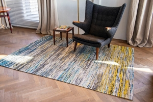 Louis De Poortere flatweave with abstract design in yellow, grey and blue