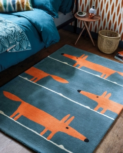 Scion Living Mr Fox Denim Rug - Blue Rug with Orange Fox Pattern