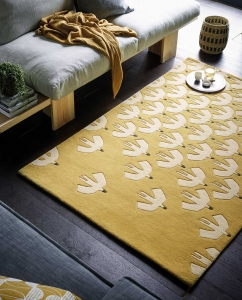 Scion Living Pajaro Honey Rug - Yellow Rug with White bird pattern