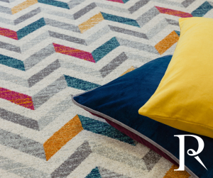 Multicolour rug with chevron design
