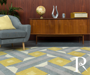 mustard yellow rug with a geometric print