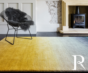 mustard yellow rug with an ombre design