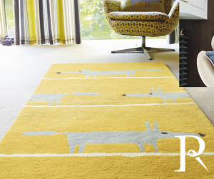 mustard yellow rug for children with a fox print