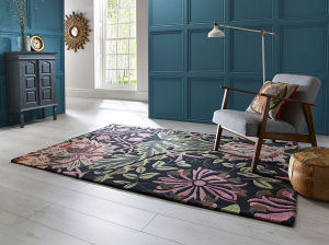 luxmi honeysuckle rug - black floral rug with pink and green flowers