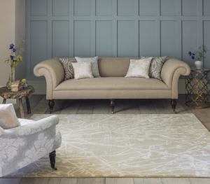 Sanderson Meadow Linen Rug - beige floral rug