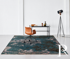 luxury damask rug in teal and copper