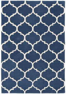 blue rug with a moroccan ogee print