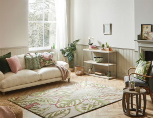 tropical interior style - sanderson calathea olive green rug