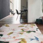 Large floral print rug in pink