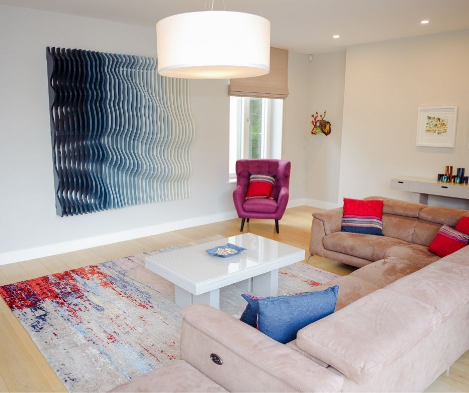 Luxury modern rug styled by Sinead Cassidy for RTE Home of the Year