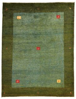 Authentic Persian wool rug with a green geometric design