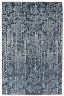 Authentic oriental rug with a damask pattern in navy and grey