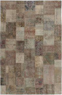Authentic beige patchwork persian rug