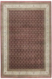 Authentic oriental rug with a damask pattern in red