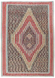 authentic persian rug with geometric tribal design in beige