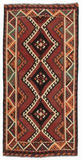 Authentic persian kelim flatweave rug with traditional geometric design in orange, beige and brown