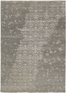 Authentic oriental rug with a damask pattern in green