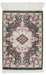 Authentic persian rug with traditional floral design in red and black