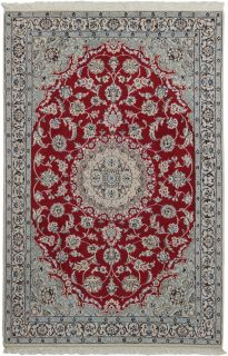 Authentic oriental rug with traditional floral design in beige