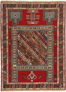 Authentic persian rug with tribal geometric design in red and beige