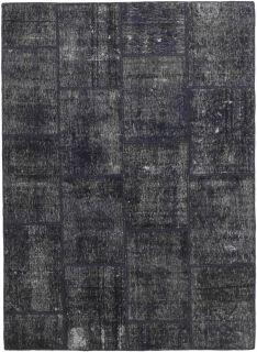 round grey patchwork persian rug