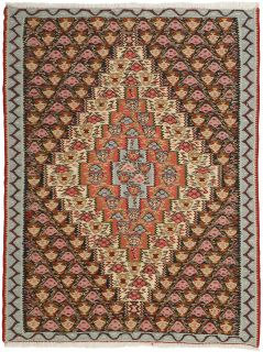 Authentic persian kelim flatweave rug with traditional geometric floral design in beige, red and blue