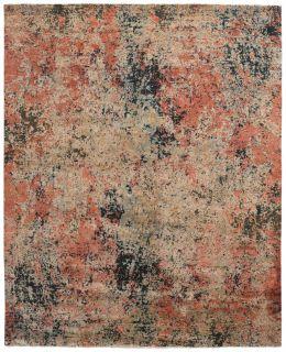 Rectangular natural beige rug with terracotta red, grey and black aztec design and black tassel border