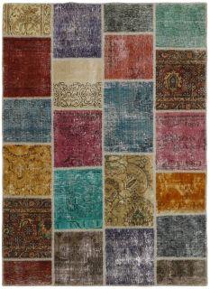 Authentic multicolour patchwork persian rug
