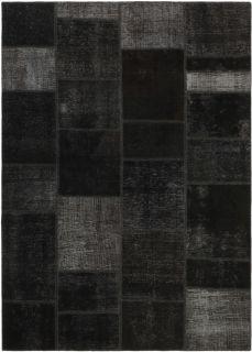 Authentic black patchwork persian rug