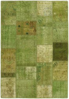 Authentic green patchwork persian rug