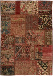 Authentic red patchwork persian rug