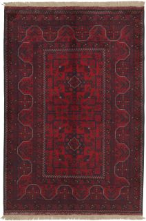 Authentic Oriental rug with traditional geometric tribal design in red