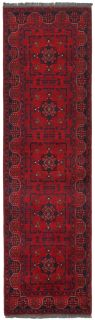 Authentic Oriental runner with traditional geometric tribal design in red