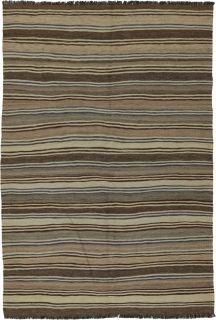 Authentic persian kelim flatweave rug with traditional stripe design in beige