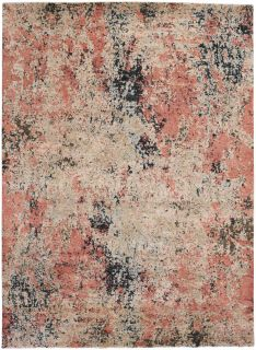 Large coral abstract rug
