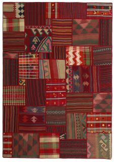 Multicolour Red Vintage Persian Patchwork Rug