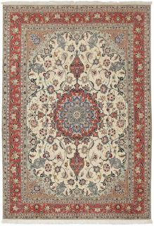Authentic persian rug with traditional floral design in red