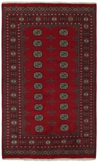 red oriental rug with traditional pattern