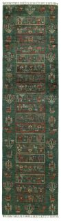 Authentic oriental runner with traditional pattern in green
