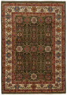 oriental rug with green and beige floral pattern