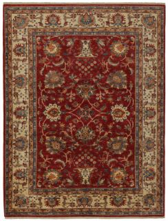 oriental rug with red and beige floral pattern