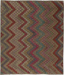 Oriental kelim flatweave rug with a geometric design in blue, red, yellow, beige and orange