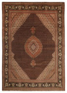 Authentic persian rug with traditional floral design in red, black and beige