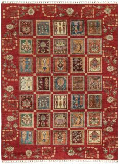Authentic oriental rug with traditional tile pattern in red