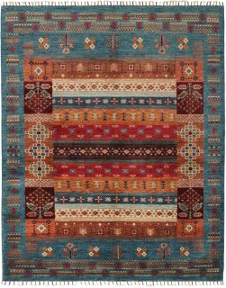 Authentic oriental rug with traditional tile pattern in red, yellow and blue