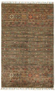 Authentic oriental rug with traditional tile pattern in multicolour