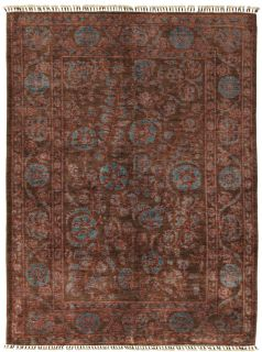 Authentic oriental rug with traditional tile pattern in brown and red